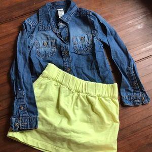 Oshkosh girls winter set chambray shirt & skirt